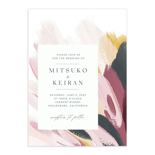 Floral Abstract wedding Invitation front purple