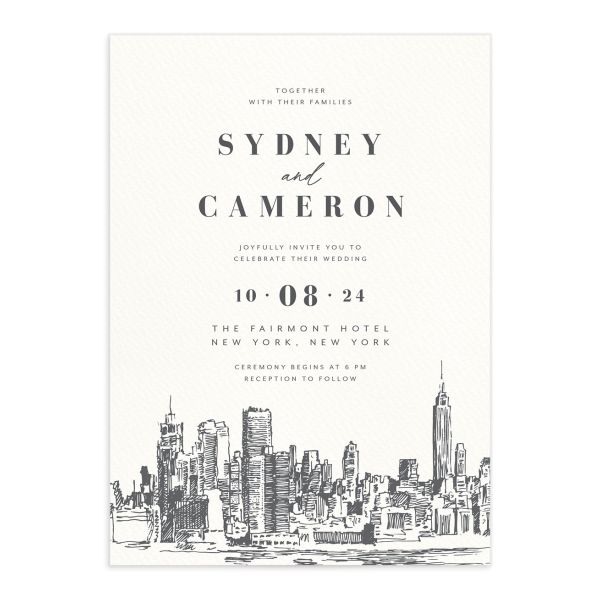 Love in New York Wedding Invitation front grey