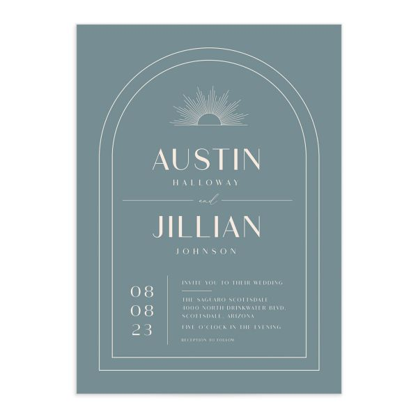 Modern Romantic wedding invitation front dusty blue