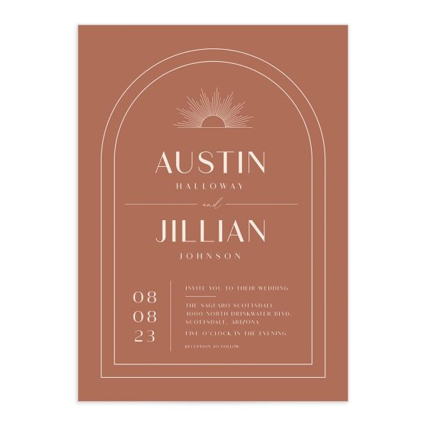Modern Romantic wedding invitation front terra cotta