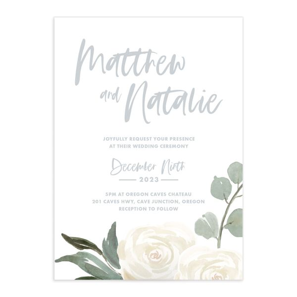 Wintry Floral Wedding Invitation front white