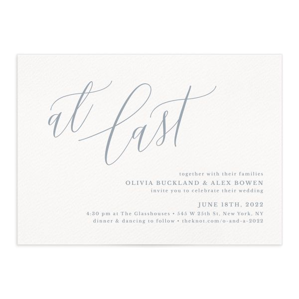 At Last wedding invitation front blue
