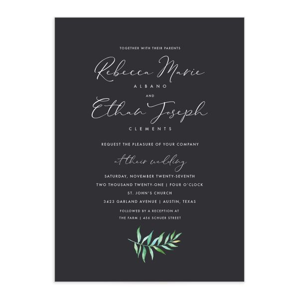 Calligraphic Botanical Wedding Invitation Front grey