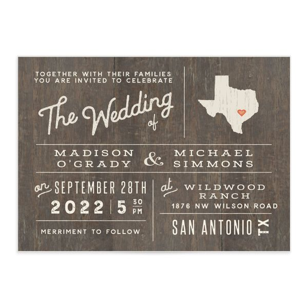 Custom State Wedding Invitation photo card front catalog