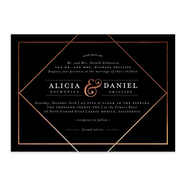 Formal Ampersand Wedding Invitation front black