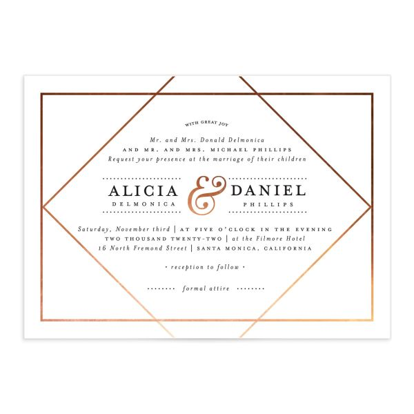 Formal Ampersand Wedding Invitation front white