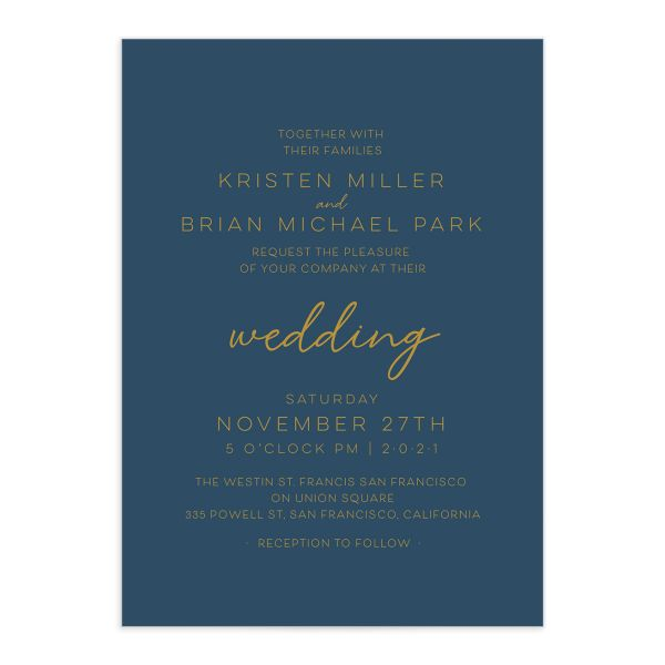 Gold Calligraphy Wedding Invitation front blue