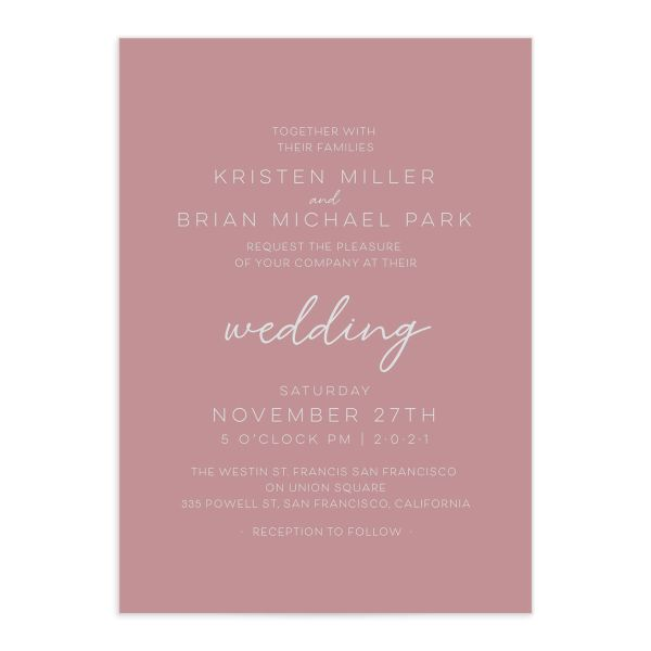 Gold Calligraphy Wedding Invitation front pink