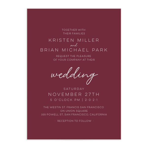 Gold Calligraphy Wedding Invitation front red