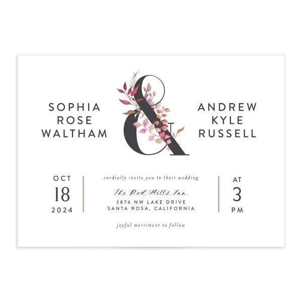 Leafy Ampersand invite in purple catalog