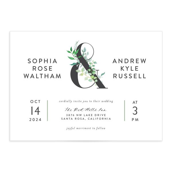 Leafy Ampersand wedding invite front catalog green