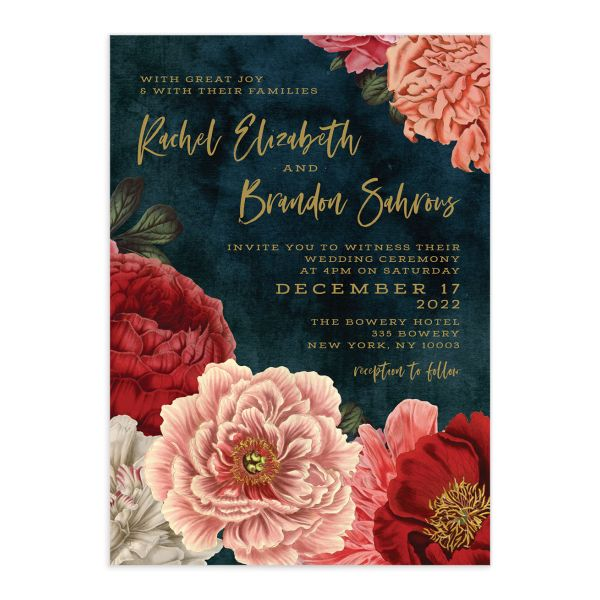 Midnight Peony Wedding Invitation front