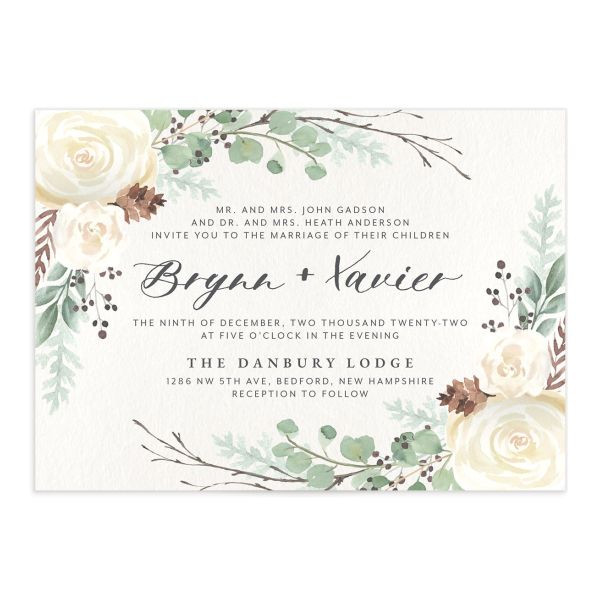 Rustic Botanical Wedding Invitation front