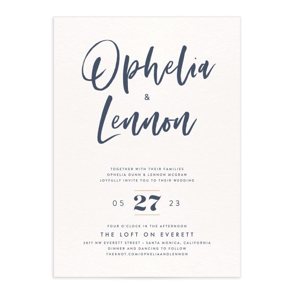 Modern Luxe Wedding Invitation blue