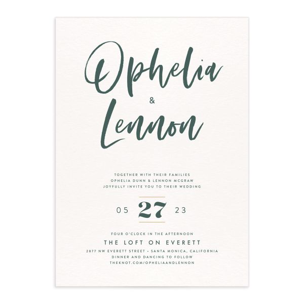 Modern Luxe Wedding Invitation green