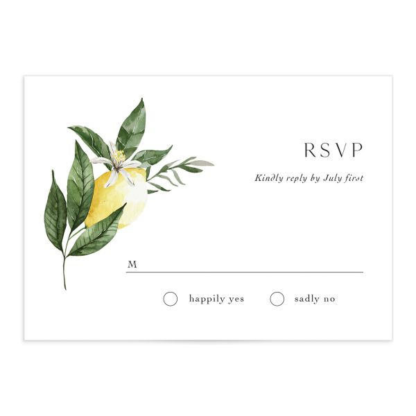 Botanical Lemon Wedding Response Card front