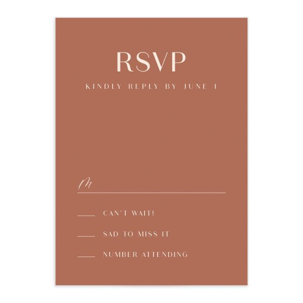 Modern Romantic response card front dusty blue
