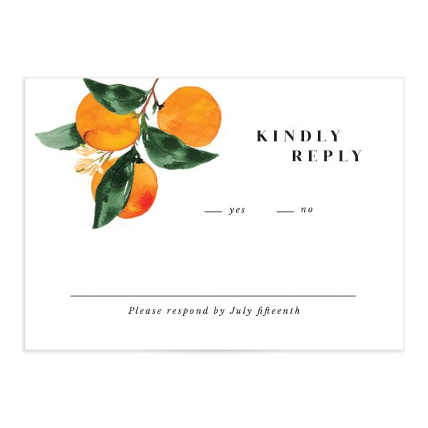 Orange Citrus Wedding Response Card front