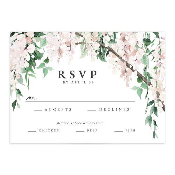 Romantic Wisteria Wedding Response Card front pink