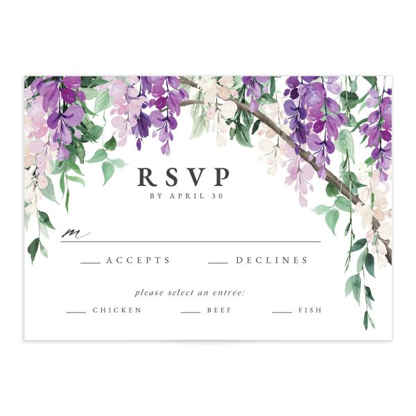 Romantic Wisteria Wedding Response Card front purple