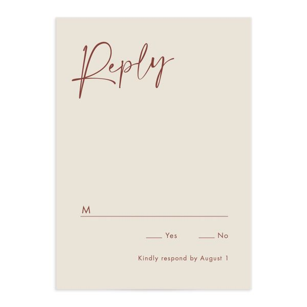Simple Script Wedding Response Card front
