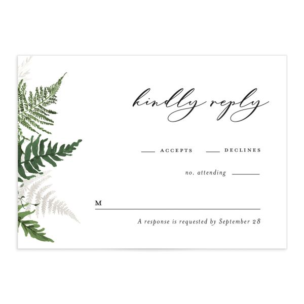 Woodsy Ferns RSVP card front dark green