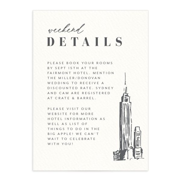 Love in New York Wedding Enclosure Card front grey