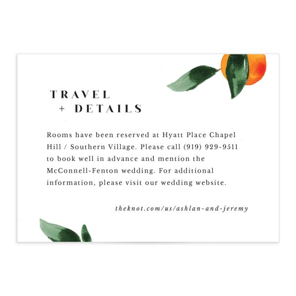 Orange Citrus Wedding Enclosure card front