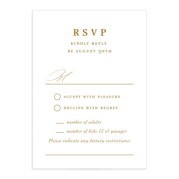 Classic Landscape Wedding Response Card front mustard