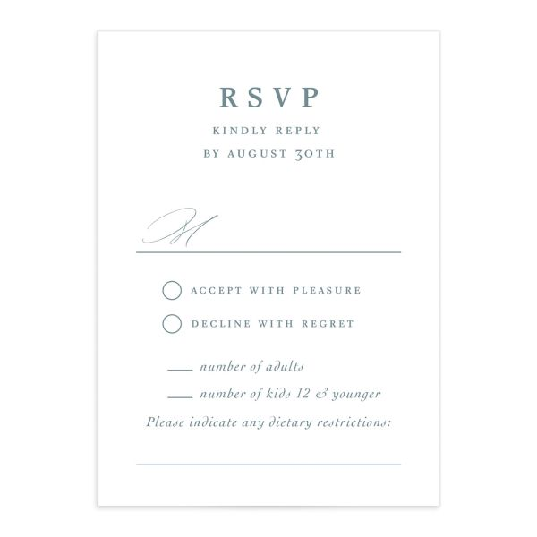 Classic Landscape Wedding Response Card front blue