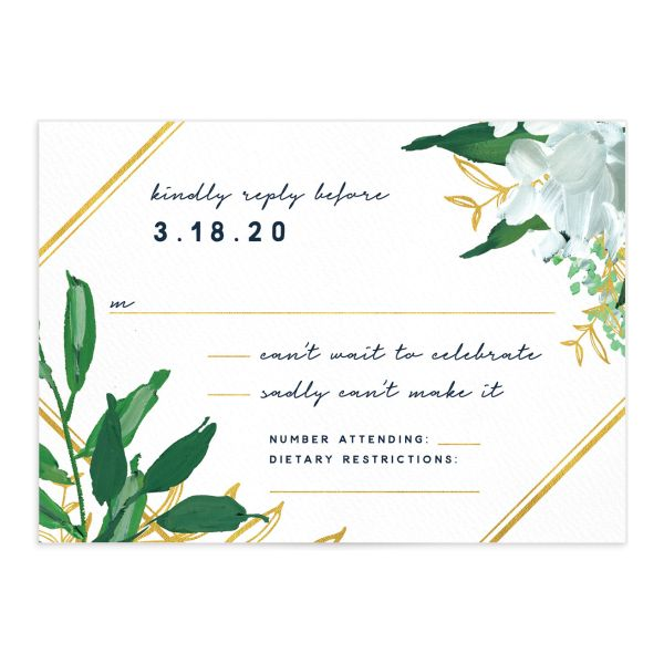 Painted Greenery Wedding Response Card front navy