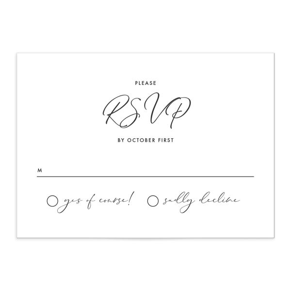 Calligraphic Botanical Wedding Response Card front grey