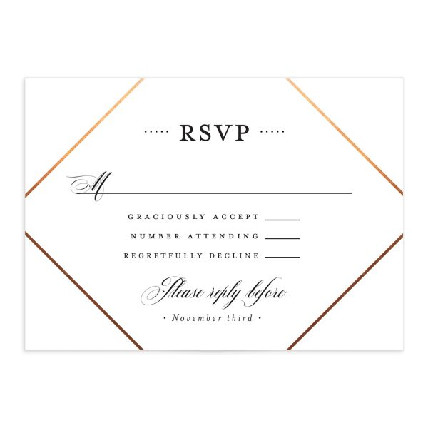 Formal Ampersand Wedding Response Card front white