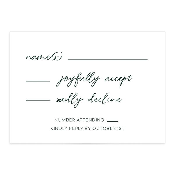 Gold Calligraphy Wedding Response Card front green