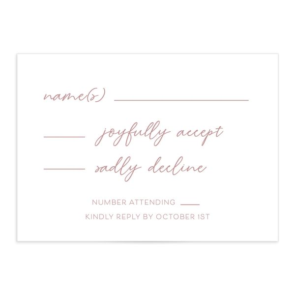 Gold Calligraphy Wedding Response Card front pink