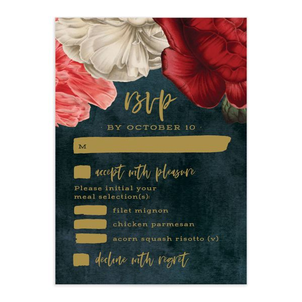 Midnight Peony Wedding Response Card front