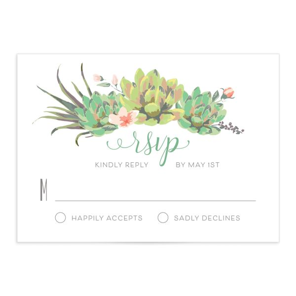Romantic Succulents RSVP card front green