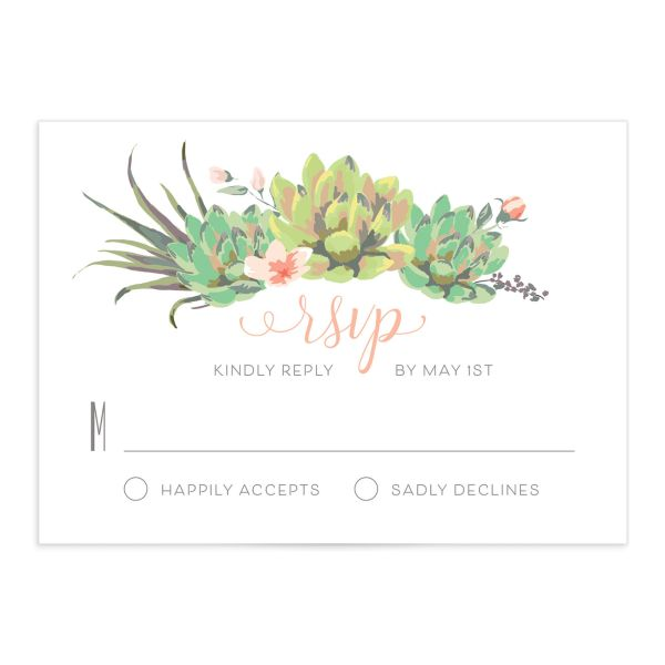 Romantic Succulents RSVP card front pink