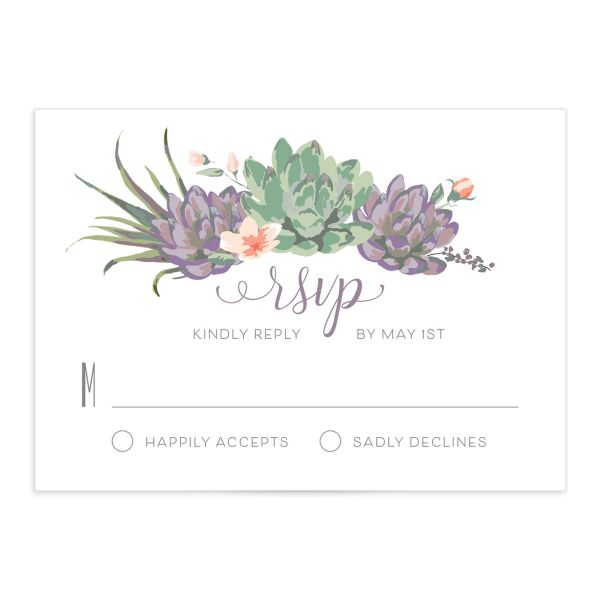 Romantic Succulents RSVP card front purple
