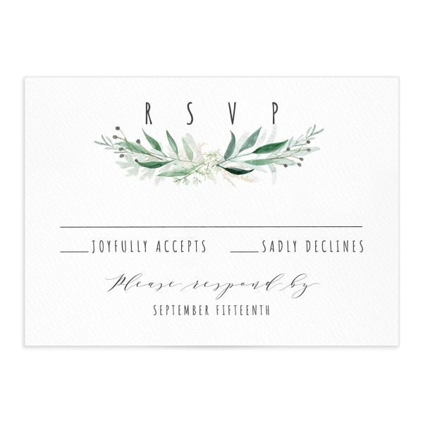 Rustic Wreath Wedding Response Card front