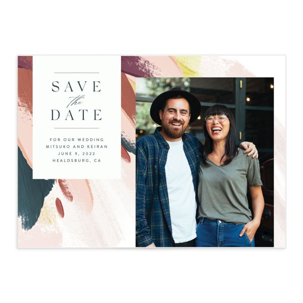 Floral Abstract Save the Date Card front pink