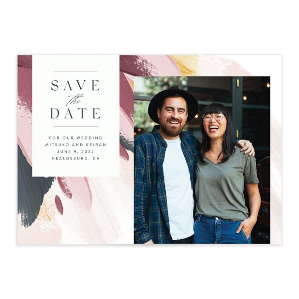Floral Abstract Save the Date Card front purple