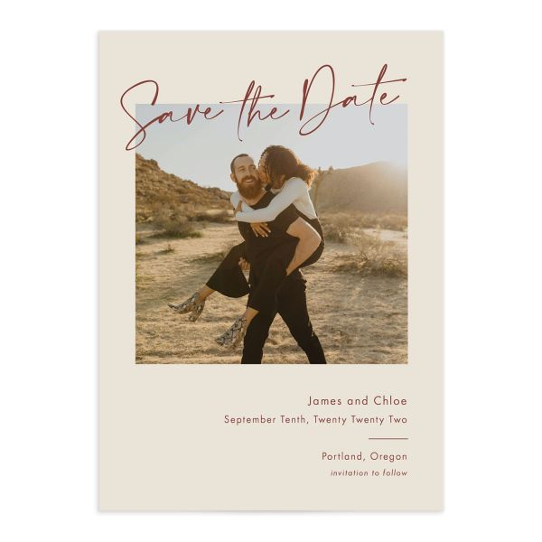Simple Script Save the Date Card front