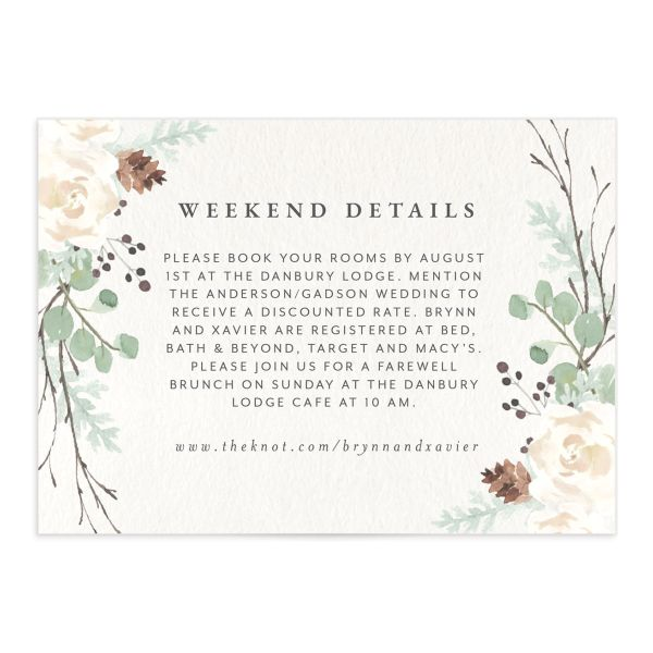 Rustic Botanical Wedding Enclosure Card front