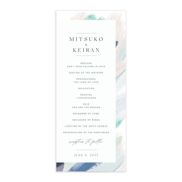 Floral Abstract Wedding Program Card front blue