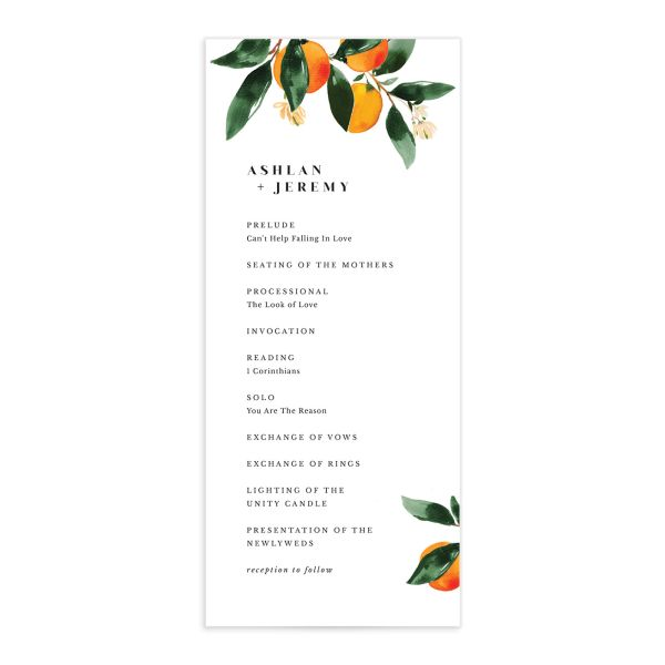 Orange Citrus Wedding Program front closeup