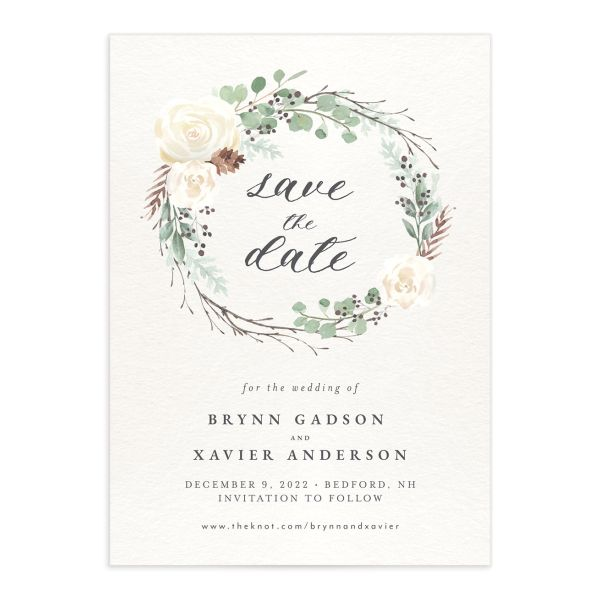 Rustic Botanical Wedding Save the Date front
