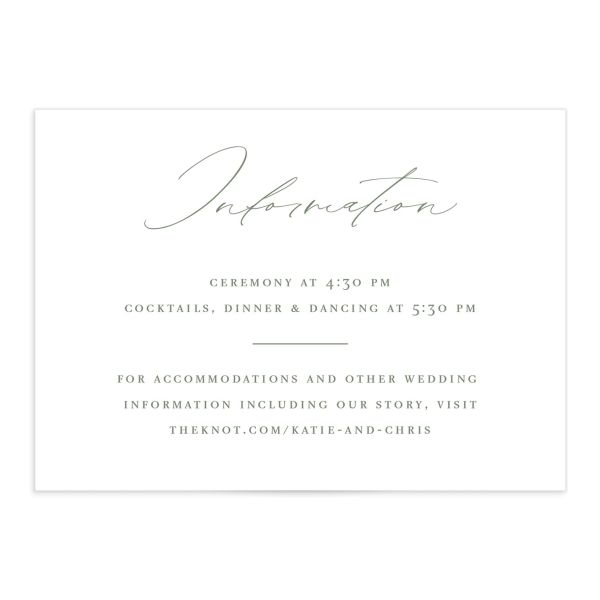 Classic Landscape Wedding Enclosure Card front green