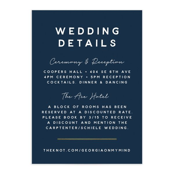 Painted Greenery Wedding Enclosure Card front navy