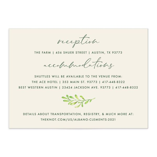 Calligraphic Botanical Wedding Enclosure Card front cream